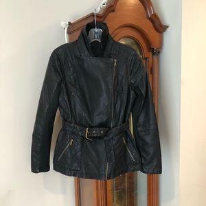 Faux leather belted jacket, black